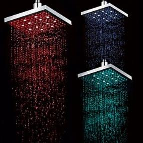 8 INCH Chrome Finish Rectangular Temperature-Controlled 3 Colors LED Shower Rainfall Shower Faucet--Faucetsmall.com