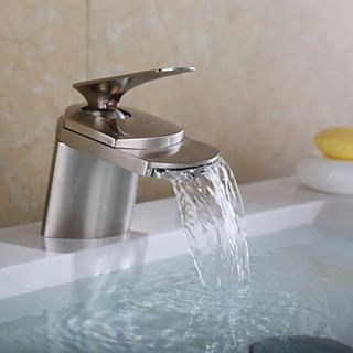 Waterfall Brass Nickel Brushed Contemporary Bathroom Sink Faucet--Faucetsdeal.com