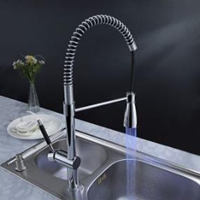 Solid Brass Transitional Kitchen Faucet with Color Changing LED Light--Faucetsdeal.com