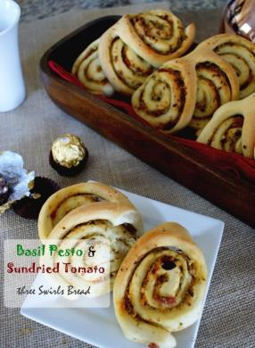 Mere looking at this bread makes me hungry!! Who will say no to these warm, fragrant and nutty, three-swirl breakfast bread rolls? At-least I cannot!! I am a big basil pesto fan.