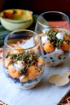 Melon, Blueberry and Yogurt Parfait with Hemp Cereal Recipe - ChefDeHome.com