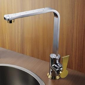 Chrome Finish Gold Handle Right Angled Heightening Kitchen Fauce--Faucetsmall.com