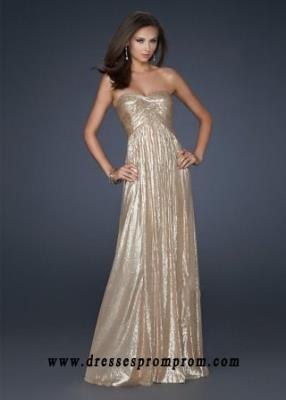 2016 Stunning Long Strapless Sweetheart Gold Full Sequin Prom Dress Sale
