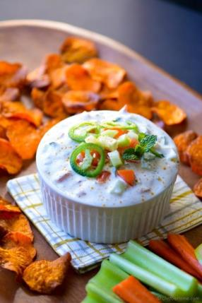 Loaded Raita Dip with Curry Dusted Sweet Potato Chips Recipe - ChefDeHome.com