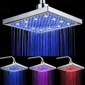 8 Inch Rectangle Brass Color Changing LED Light Shower Head--Faucetsmall.com