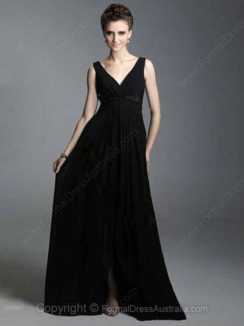A line Chiffon V-neck Beading Floor-length Formal Dresses
