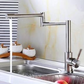 Stainless Steel Lead-Free Kitchen Mixer Tap Faucet Nickel Brushed Kitchen Faucet--Faucetsdeal.com