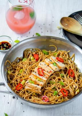 Sesame Chili Garlic Noodles with Grilled Tofu Recipe - ChefDeHome.com