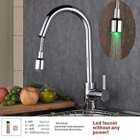Single Handle LED One Hole Deck Mounted with Chrome Kitchen Faucet--Faucetsmall.com