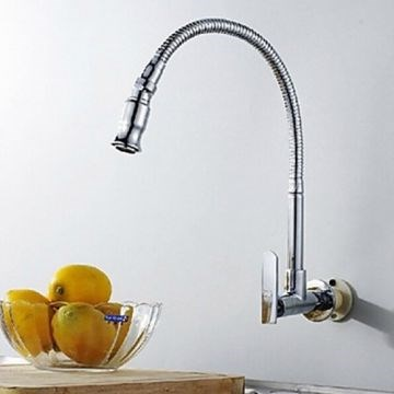 Silver Wall Type Arbitrary Rotating Chrome Plated Brass Kitchen Sink Faucet--Faucetsmall.com