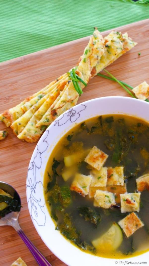 Kale and Zucchini Summer Soup with Chive Frittatine Croutons Recipe - ChefDeHome.com
