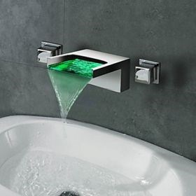 Contemporary Waterfall Wall Mount 3 Colors LED Bathroom Faucet--Faucetsuperseal.com