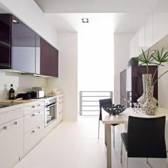 Purple and Cream Gallery Kitchen