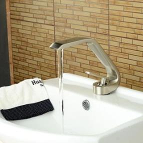 Contemporary Style Single Handle One Hole Nickel Brushed Bathroom Sink Faucet--Faucetsdeal.com