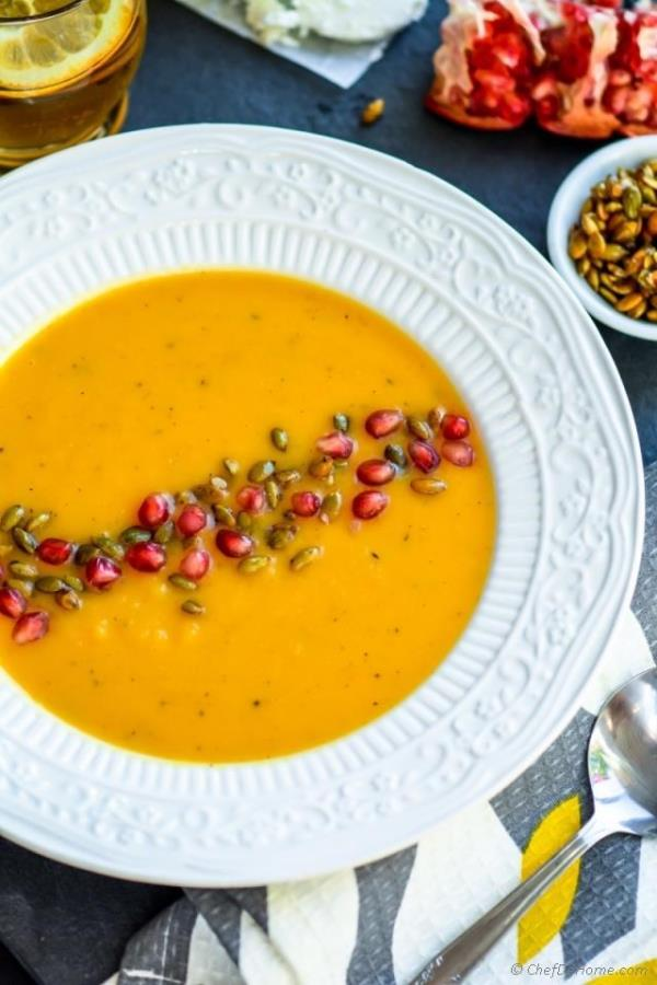 Roasted Butternut Squash Soup with Goat Cheese Recipe - ChefDeHome.com
