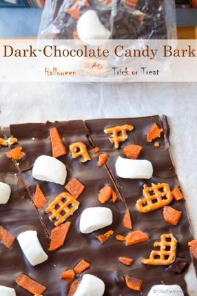 Dark-Chocolate Candy Bark with Marshmallow and Pretzels for Trick-or-Treat Recipe - ChefDeHome.com