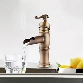 Centerset Antique Copper Finish Single Handle Brass Bathroom Sink Faucet--Faucetsdeal.com