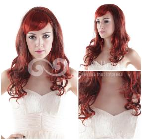 Claret-red High-temperature Resistance Fibre Capless Long Fashion Wigs get it at www.grandgown.com