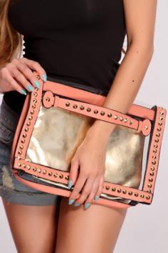 Peach Spike Studded Clear Clutch Handbag