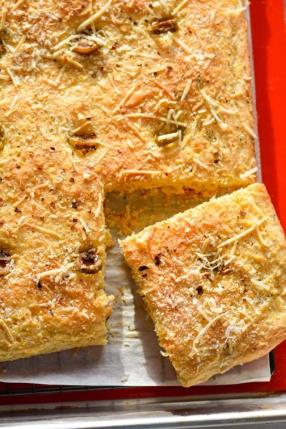 Olives and Parmesan Cornbread Focaccia Recipe - ChefDeHome.com