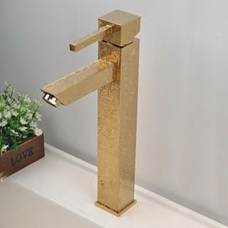 Antique Waterfall Brass Ti-PVD Bathroom Sink Faucet--Faucetsdeal.com