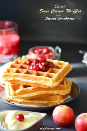 Spiced Sour Cream Waffles with Stewed Cranberries Recipe - ChefDeHome.com