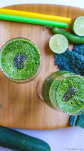 Vegan Spicy Greens Detox Smoothie Recipe - ChefDeHome.com