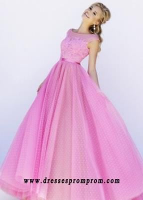 2016 Long Pink Nude Cap Sleeves Beaded Polka Dot Tulle Ball Gown