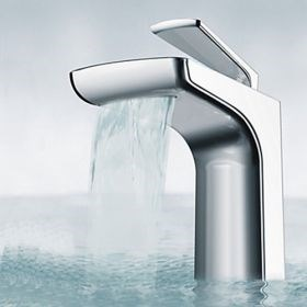 Chrome Finish - Contemporary Unique Waterfall Stainless Steel Bathroom Faucet--Faucetsuperseal.com