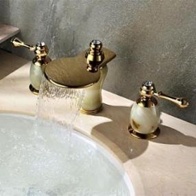 Widespread Art Deco Style Brass Waterfall Bathroom Sink Faucet--Faucetsdeal.com