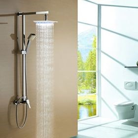Color Changing LED Shower Faucet with 8 inch Shower Head and Hand Shower--Faucetsuperseal.com