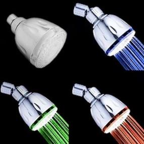 Chrome Finish Contemporary Thermochromic LED Showerhead--Faucetsmall.com