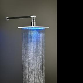 8 Inch Chrome Finish Brass Square LED Rain Shower Head--Faucetsmall.com