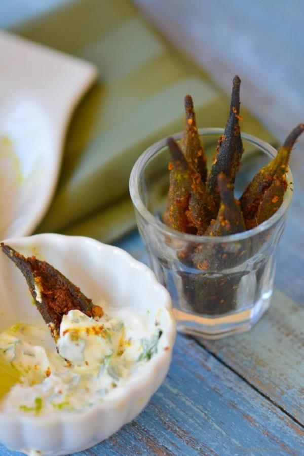 Spicy Baked Okra Fries with Homemade Creole Spice and Lime-Cilantro Dip Recipe - ChefDeHome.com