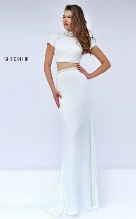 Sherri Hill Prom Embellished Ivory Stones Halter Two Piece Gown From 32303