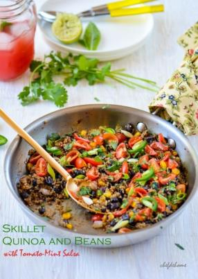 Southwest Skillet Quinoa (Rice) and Beans with Tomato-Mint Salsa Recipe -ChefDeHome.com