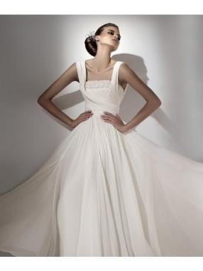 A-Line Square Cathedral Train Handmade Flower Chiffon Wedding Dress