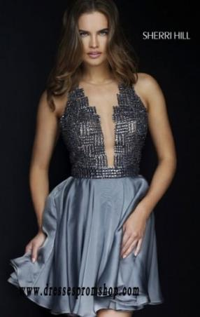 Scoop-Neck 2015 Sherri Hill 1971 Deep V-Bodice Short Beaded Cocktail Dresses Gunmetal 2015