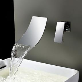Chrome Finish Waterfall Widespread Contemporary Bathroom Sink Faucet--Faucetsmall.com