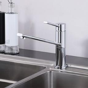 360 Turnable Spout Brass Chrome Single Handle Deck Mounted Countertop Kitchen Faucet--Faucetsmall.com