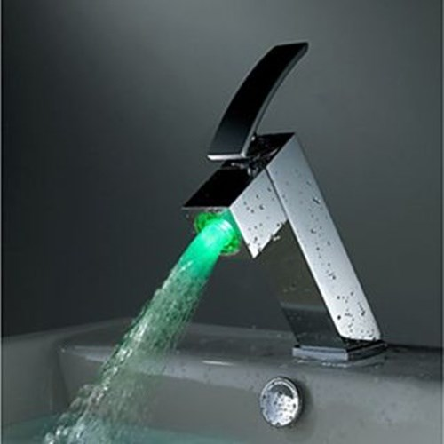 Contemporary Style Color Changing LED Waterfall Bathroom Sink Faucet--Faucetsdeal.com