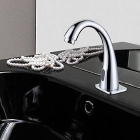 Chrome Finish Contemporary Bathroom Sink Faucet with Automatic Sensor--Faucetsmall.com
