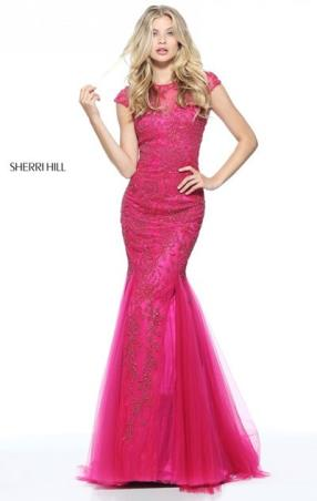 Beaded Patterned Cap Sleeves Keyhole Back 2017 Berry Long Tulle Mermaid Gown Sherri Hill 51117 Bateau Neckline