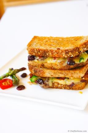 Cranberries, Asparagus and Pickled Jalapeno Grilled Cheese Sandwich Recipe -ChefDeHome.com