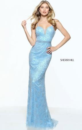 2017 Open Back Beaded Patterned Sherri Hill 51074 Slim Straps Sweetheart Neckline Light Blue Long Net Prom Dresses