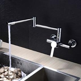 Contemporary Extension Chrome Finish Brass Two Holes Single Handle Kitchen Faucet--Faucetsmall.com