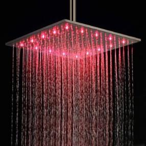 16 Inch Stainless Steel Contemporary Shower Head with Color Changing LED Light--Faucetsmall.com