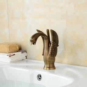 Traditional Single Handle Little Swan Antique Copper Finish Brass Finish Bathroom Sink Faucet--Faucetsdeal.com