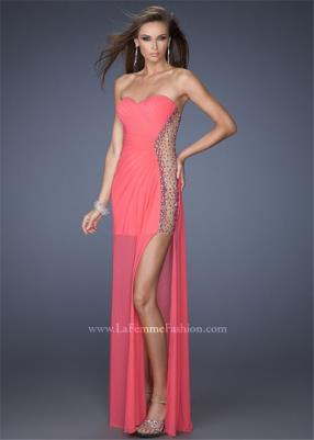 La Femme 19737 Sexy Sides Illusion Hot Coral Sweetheart Long Prom Dress