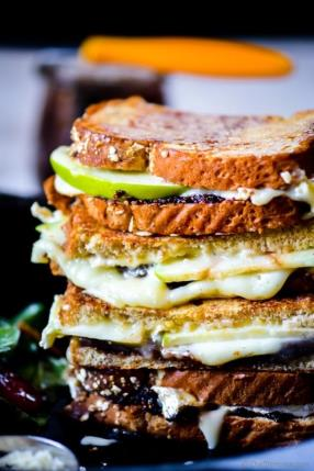 Homemade Made Fig Spread for Brie and Apple Grilled Cheese Sandwich #boudinbakery copycat